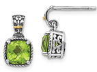 2.16 Carat Cushion-Cut Peridot Earrings in Silver with 14K Gold Accents