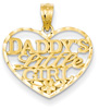 Daddy's Little Girl Heart Pendant, 14K Gold