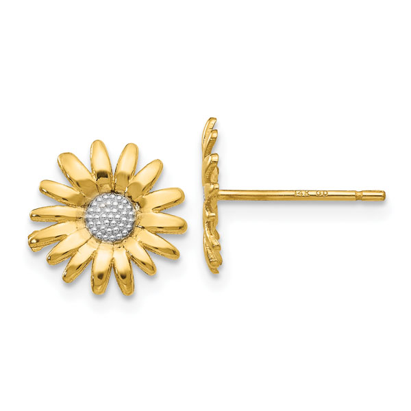Daisy Post Stud Earrings, 14K Gold