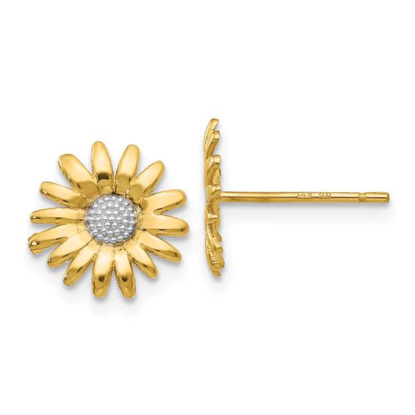 Daisy Post Stud Earrings, 14K Gold