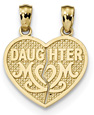 Daughter Mom Break Apart Heart Pendant, 14K Gold