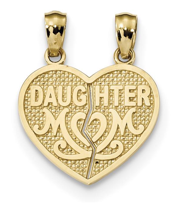 Daughter Mom Break Apart Heart Pendant, 14K Gold