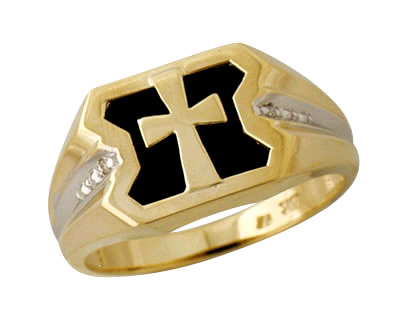 Men's Onyx Cross Ring in 10K Yellow Gold