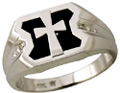 Onyx Cross Diamond Ring in 10K White Gold