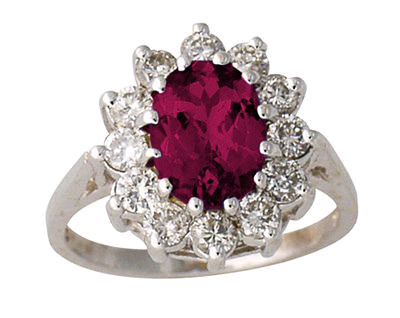 2 Carat Ruby and Diamond Flower Ring