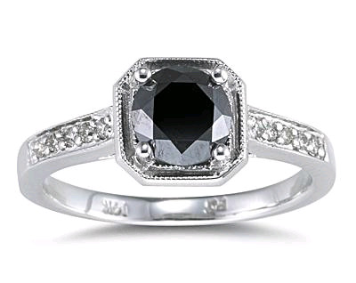 1 Carat Black Diamond Ring with White Diamond Side Stones