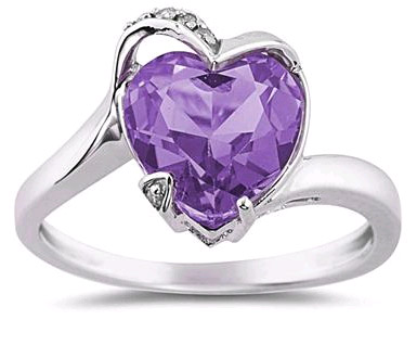 Heart Shaped Amethyst and Diamond Ring in 14K White Gold