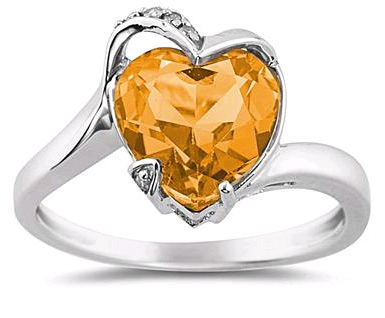 Heart Shaped Citrine and Diamond Ring in 14K White Gold