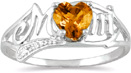 Citrine Heart Mom Ring with Diamonds in 10K White Gold