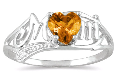 Citrine Heart Mom Ring with Diamonds in 10K White Gold