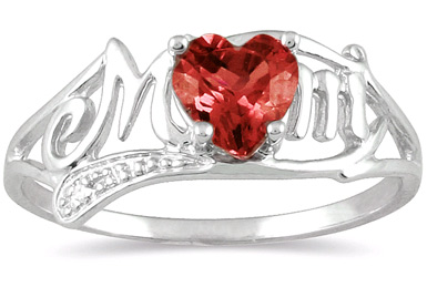 Garnet Heart Mom Ring with Diamonds in 10K White Gold