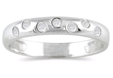 Seven Sparkles Diamond Band in 14K White Gold