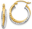 Diamond-Cut Hinged Double Hoop Earrings, 14K Two-Tone Gold
