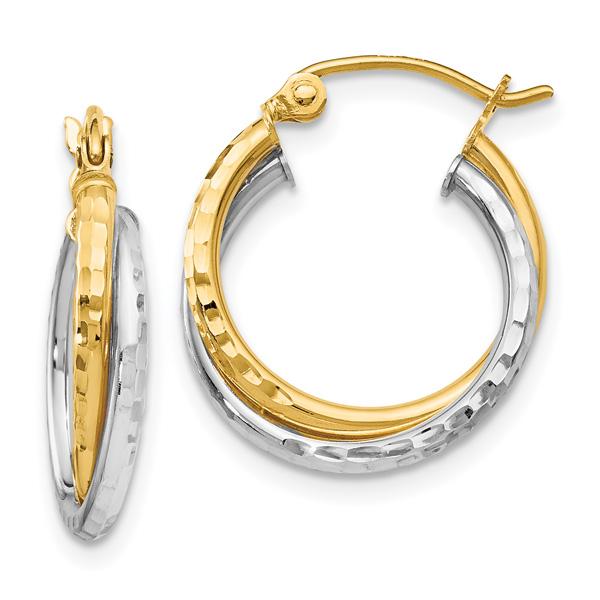 Diamond-Cut Hinged Double Hoop Earrings, 14K Two-Tone Gold