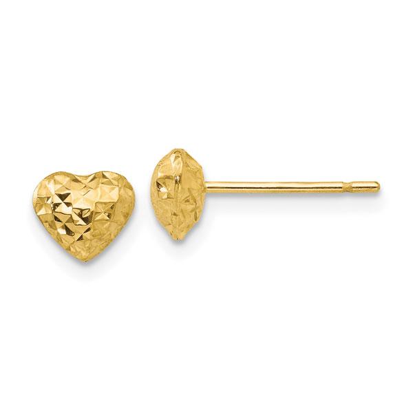 Diamond-Cut Puffy Heart Stud Earrings in 14K Gold