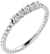 Stackable Diamond Bead Band in Silver