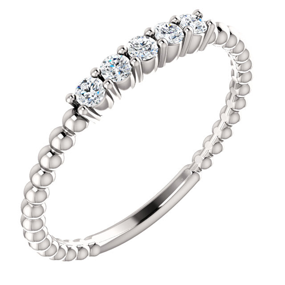 Diamond Stackable Beaded Ring, 14K White Gold