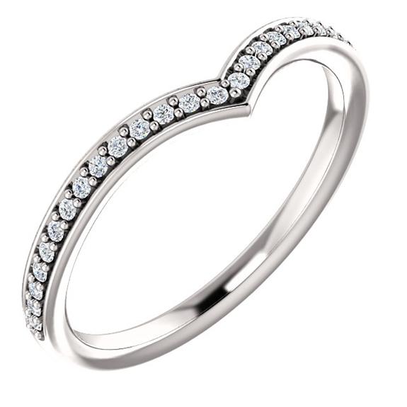 Diamond V Ring in 14K White Gold