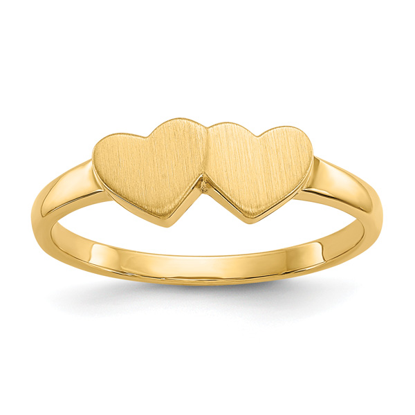 Dual Heart Engravable Signet Ring, 14K Gold