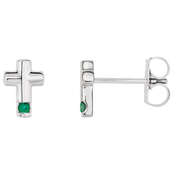 Emerald Cross Stud Earrings, 14K White Gold