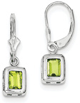 Emerald-Cut Bezel-Set Peridot Earrings, Sterling Silver
