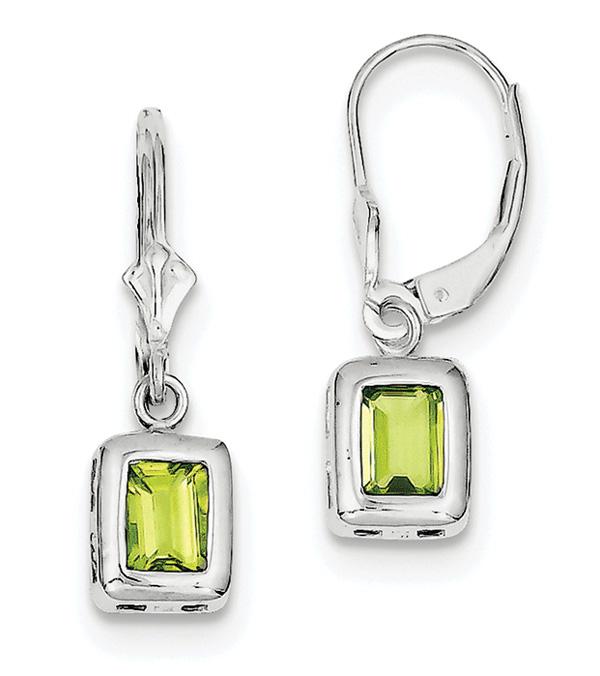Emerald-Cut Bezel-Set Peridot Earrings, Sterling Silver