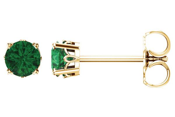 Scrollwork Emerald Stud Earrings, 14K Yellow Gold