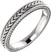 Etched Leaf Design Wedding Band Ring in 14K White Gold