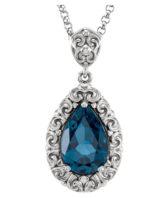 Filigree Pear-Shaped London Blue Topaz Necklace