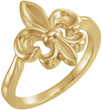 Fleur-de-Lis Ring for Women in 14K Yellow Gold