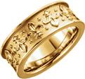 Women's Fluer-de-Lis Wedding Band Ring in 14K Gold