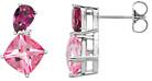 Garnet and CheckerBoard Pink Topaz Multi Colored Gemstone Earrings