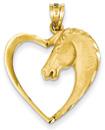Horse Heart Pendant in 14K Gold