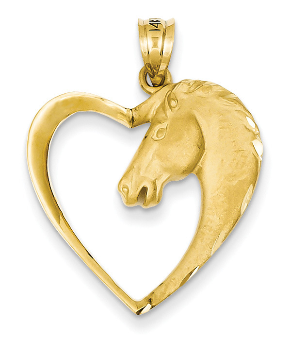 Horse Heart Pendant in 14K Gold