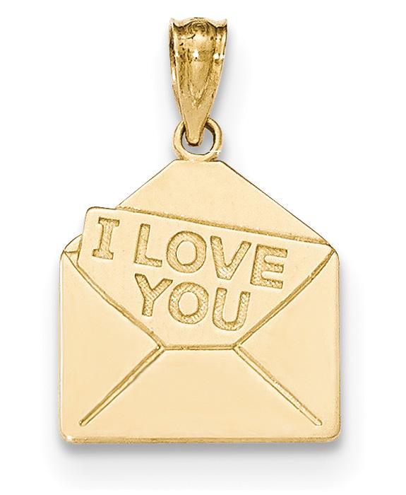 I Love You Letter Pendant in 14K Gold