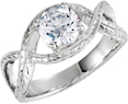 1 Carat Eq. Infinity Design CZ Ring, 14K White Gold