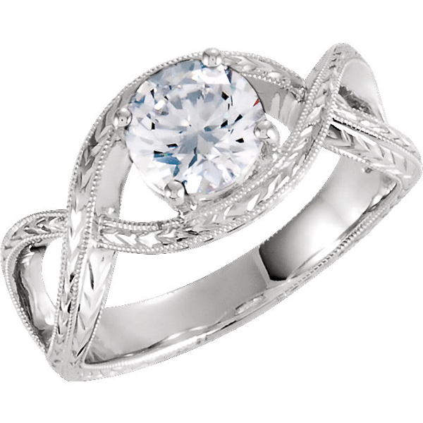 1 Carat Eq. Infinity Design CZ Ring, 14K White Gold
