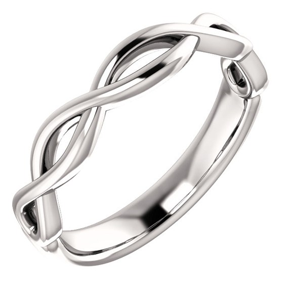 Platinum Infinity Knot Wedding Band Ring for Women