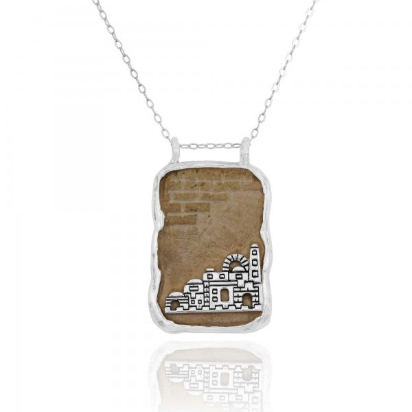 Jerusalem Stone Necklace with Jerusalem Emblem