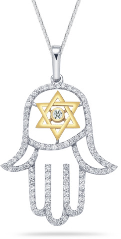 0.70 Carat Diamond Hamsa and Star of David Pendant (Pendants, Apples of Gold)