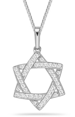 Star of david jewelry to celebrate hanukkah applesofgold 025 carat diamond star of david pendant 14k white gold aloadofball Choice Image