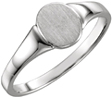 Ladies' Oval Engravable Signet Ring, 14K White Gold