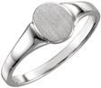 Ladies' Oval Engravable Signet Ring, 14K White Gold