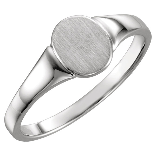 Sterling Silver Oval Engravable Signet Ring