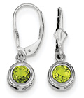 Lever-Back Bezel-Set Peridot Earrings, Sterling Silver