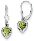 1.60 Carat Lever-Back Peridot Heart Earrings in Sterling Silver