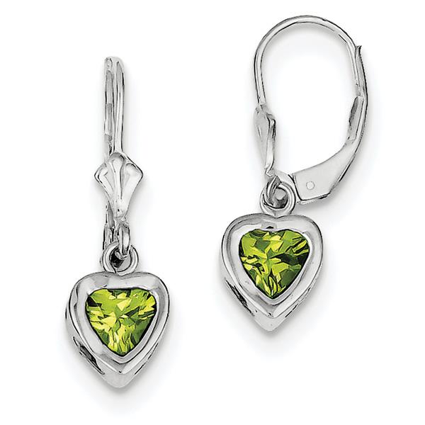 1.60 Carat Lever-Back Peridot Heart Earrings in Sterling Silver