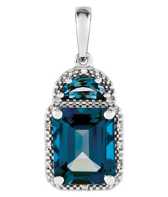 London Blue Topaz Half-Moon Diamond Pendant