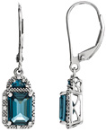 London Blue Topaz and Half-Moon Facet Diamond Earrings, 14K White Gold