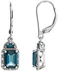 London Blue Topaz and Half-Moon Facet Diamond Earrings, 14K White Gold